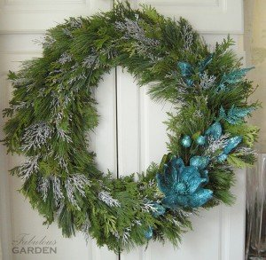 wreath accented in blue