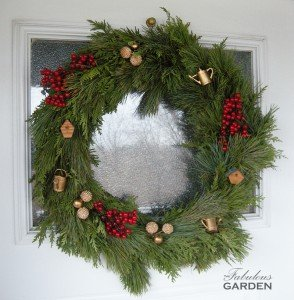 wreath with garden themed accents