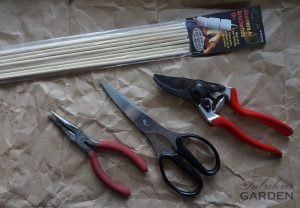 Supplies required include long skewers, pliers, scissors and secateurs