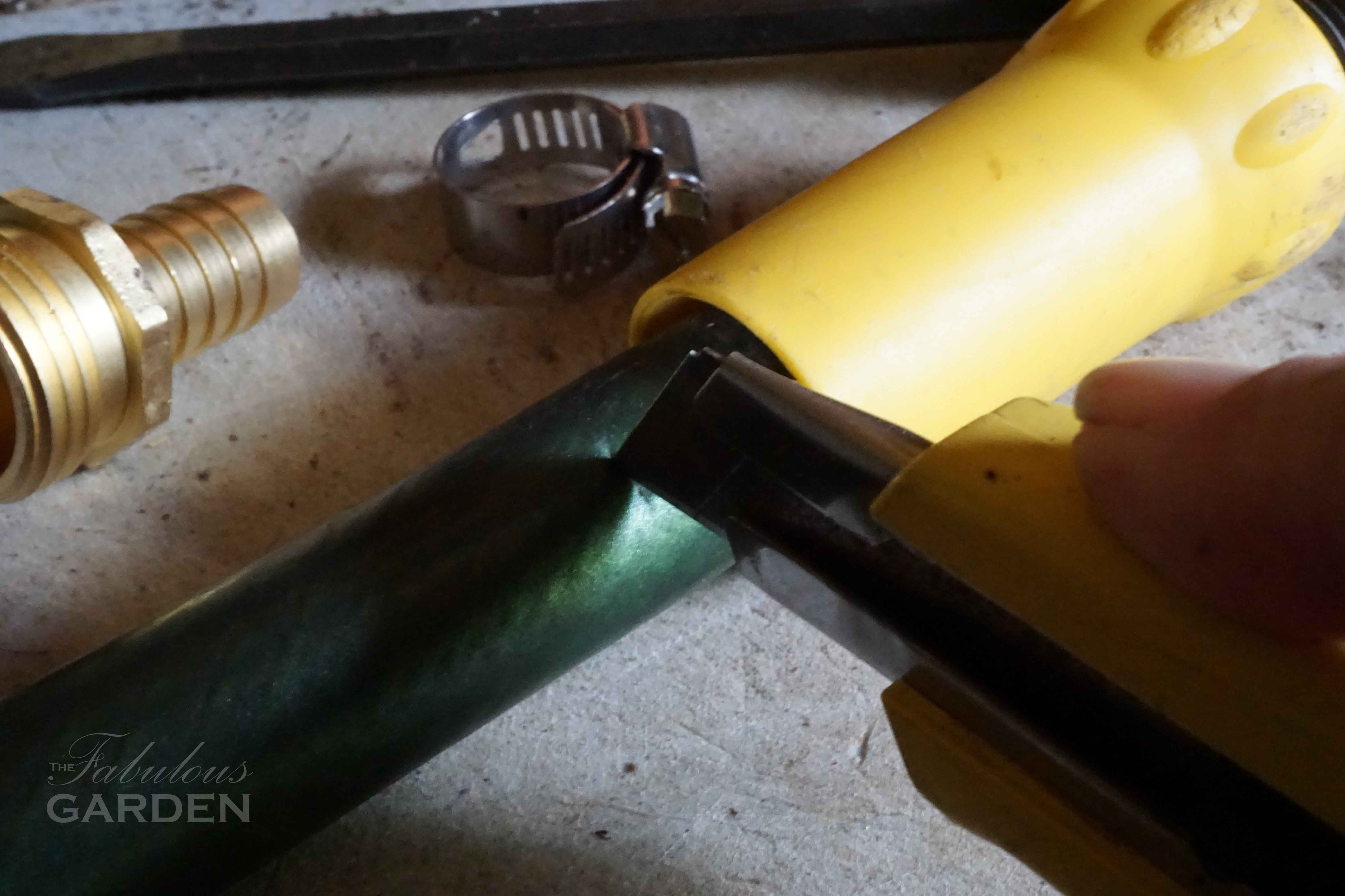 Remove damaged section of hose so you can replace a hose coupling