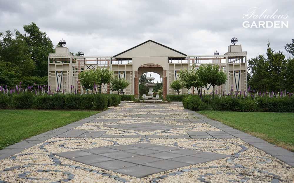 Formal gardens at Whistling Gardens Botanical Garden
